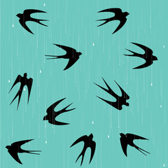 Swallows in the rain pattern/background