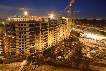 Lots of tower cranes build high-rise residential buildings
