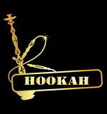 design golden hookah for the vector