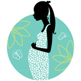 Silhouette of young pregnant woman