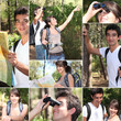Montage of a couple hiking