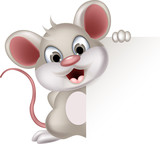 funny mouse cartoon holding balnk sign