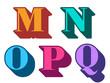 Colorful alphabet letters serif M, N, O, P, Q