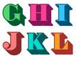 Colorful alphabet letters serif G, H, I, J, K, L