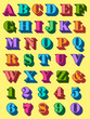 Complete alphabet set in colourful uppercase