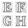 E, F, G, H alphabet letters with floral elements