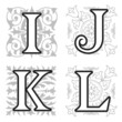 I, J, K, L alphabet letters with floral elements