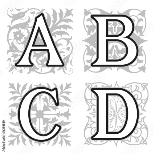 A, B, C, D alphabet letters with floral elements
