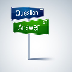 Question answer direction road sign.