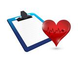clipboard and lifeline heart illustration design poster