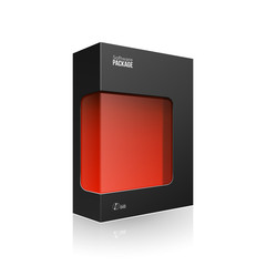 Black Modern Software Product Package Box With Red Window