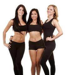 three fitness women
