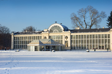 old orangery in Lazenki park, Warsaw, Poland at winter