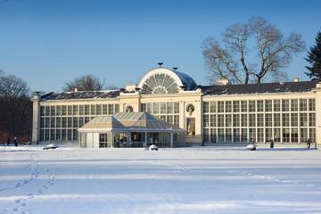 old orangery in Lazenki park, Warsaw, Poland at winter
