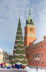 Warsaw Castle Square at winter with christmas tree and decoratio