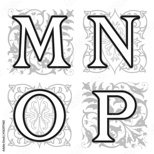 M, N, O, P alphabet letters with floral elements