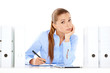 Overworked stressed businesswoman