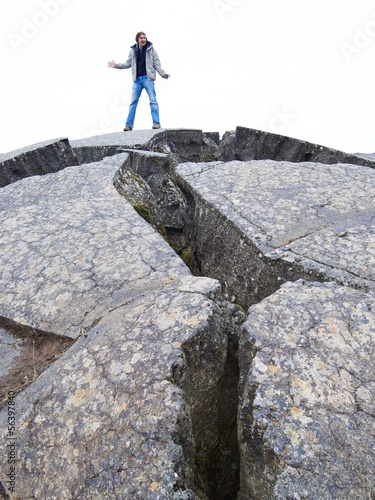 Man on cracked lava