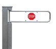 Entrance tourniquet, turnstile, stainless steel, red stop sign
