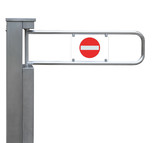 Entrance tourniquet turnstile stainless steel red no entry sign