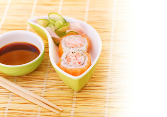 Sushi with traditional serving