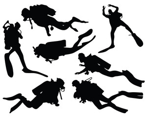 Black silhouettes of divers, vector