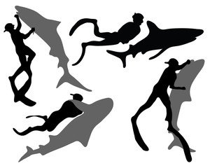 Silhouettes of divers and sharks, vector