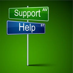 Support help direction road sign.