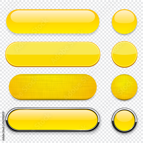 Yellow high-detailed modern web buttons.