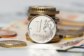one ruble and the euro (coins and banknotes)