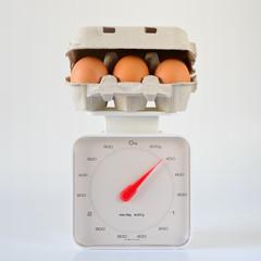 Huevos Sobre Báscula En Fondo Blanco