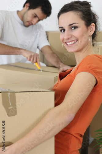 couple moving in an apartment
