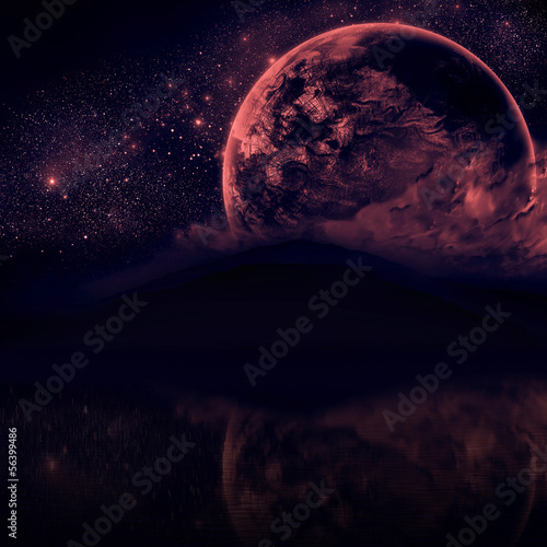 Night sky with silhouette mountains and close planet