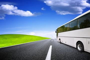Tourist bus traveling