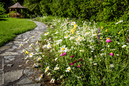 Wildflower garden and path to gazebo