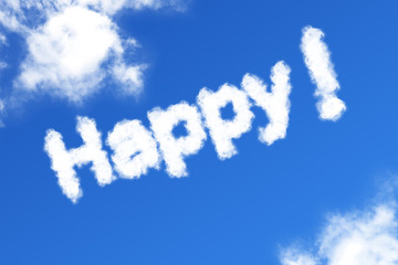 Happy cloud word on blue background