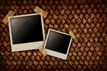 Wickerwork background detail with polaroid