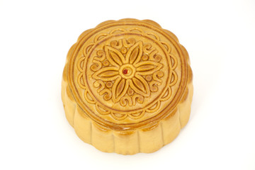 Moon cake isolated on white
