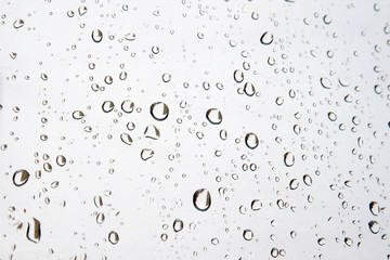 Drops of rain on the window (glass)
