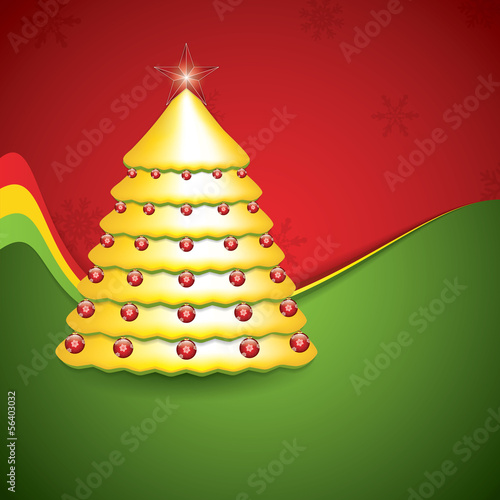 Simple golden and glossy Christmas tree
