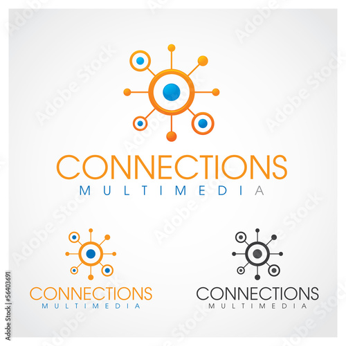 Connections Multimedia logo design template.