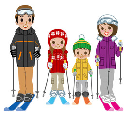 Skiing family, Isolated