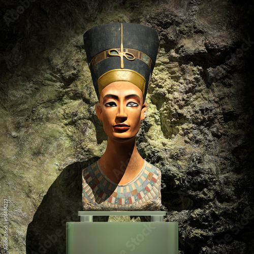 nefertiti bust 3d illustration