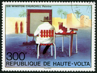REPUBLIC OF UPPER VOLTA - 1975: showsSir Winston  Churchill