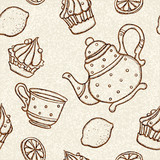 Seamless pattern with teacups, teapots, cakes and lemons