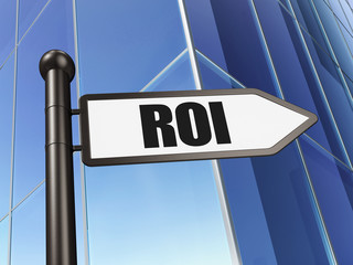 Business concept: ROI on Building background
