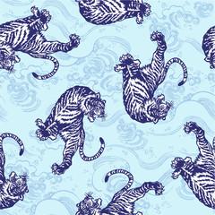 日本の虎をシームレスに