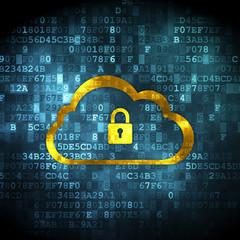 Cloud computing concept: Cloud With Padlock on digital backgroun