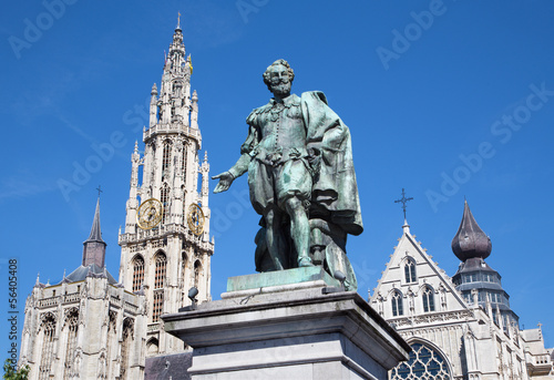 Antwerp - Statue of painter P. P. Rubens and tower of cathedra