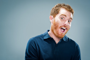 Young Man with Surprise Expression